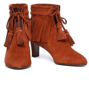 NIB See By Chloé Irina Fringed Suede Ankle Booties